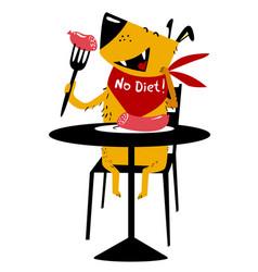 eating dog a cheerful dog sits at a table and vector image vector image