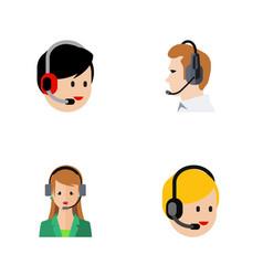 flat hotline set of secretary telemarketing call vector image vector image