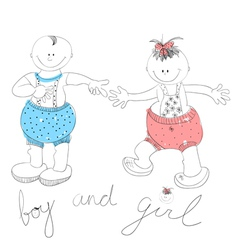 funny couple boy and girl vector image vector image