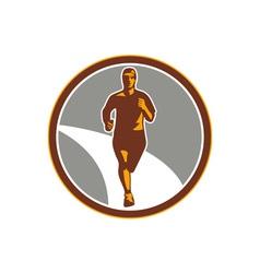 Marathon Runner Front Circle Retro vector image vector image