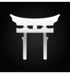 Silver Japan Gate Torii icon on black background vector image vector image