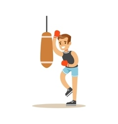 Boy Boxing With Punch Bag Kid Practicing vector image vector image