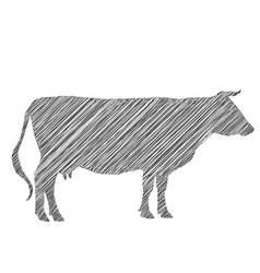 cow silhouette shading doodle drawing by hand vector image vector image