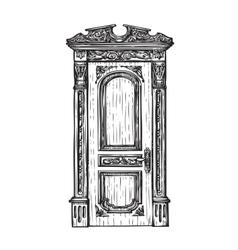Freehand drawing door sketch vector