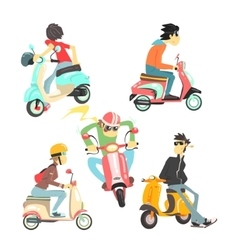 People On Scooters Set vector image vector image