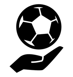 Soccer ball on hand vector image vector image