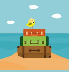 summer time of little bird vector image