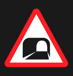 tunnel ahead sign flat icon vector image