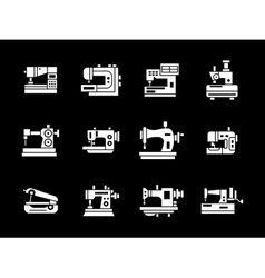 White glyph style sewing machine icons set vector image vector image