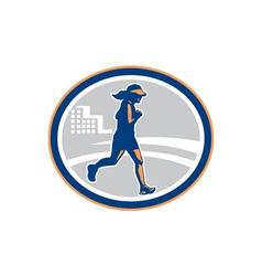 Female Marathon Runner City Retro vector image vector image