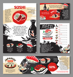 Japanese seafood restaurant sushi menu template vector