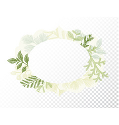 oval border with branches and leaves decoration vector image vector image