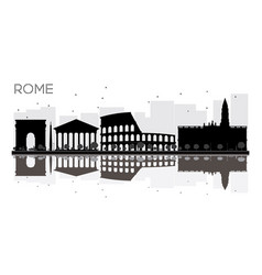 rome city skyline black and white silhouette with vector image