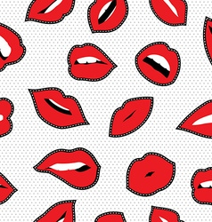 Seamless pattern with lipstick kiss stitch patches vector image vector image