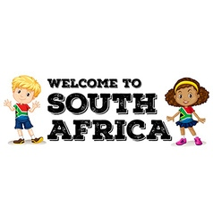 South african boy and girl greeting vector