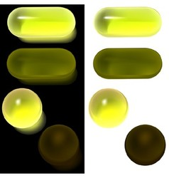 Yellow Glass Buttons vector image vector image