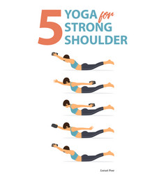5 yoga poses in concept strong shoulder vector