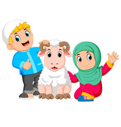 a girl and her father are holding white sheep vector image