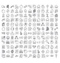 A large set of icons on the topic of real estate vector