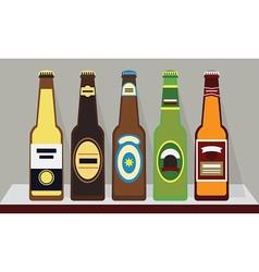 A row full beer bottles on a shelf set 1 vector