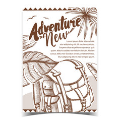 Adventure tourist travel backpack poster vector