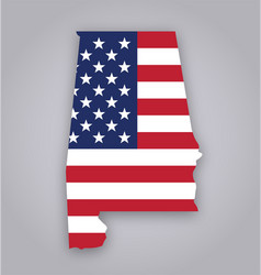 Alabama al state map with usa flag vector