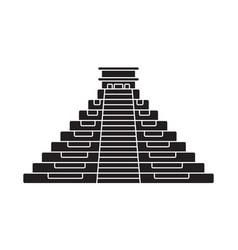 Ancient el castillo pyramid flat icon for apps vector