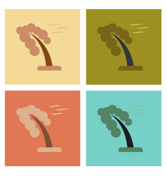 Assembly flat icons nature strong wind tree vector