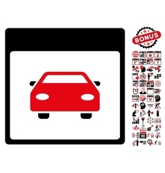 Automobile car calendar page flat icon with vector