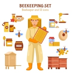 Beekeeping honey icon set vector