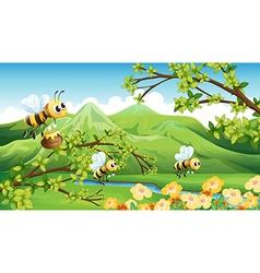 Bees near the mountain vector