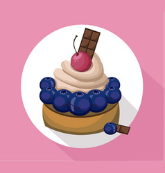 Berry mousse delicious cake sweet dessert cherry vector