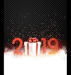 Black shiny 2019 new year background with red gift vector