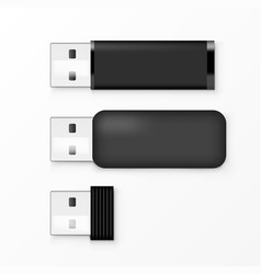 black usb flash drive template for advertising vector image
