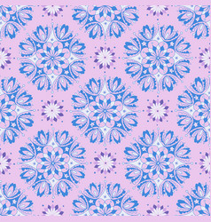 blue and white floral pattern on pink background vector image