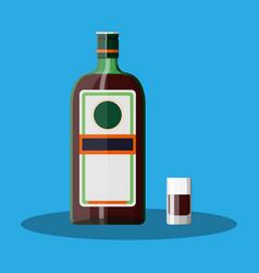 Bottle grass liquor with shot glass vector