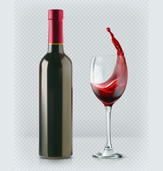 Bottle of wine and wineglass red splash 3d vector