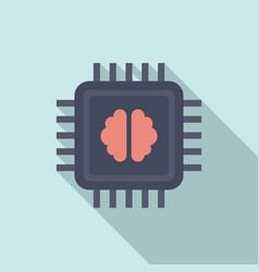 brain ai processor icon flat style vector image