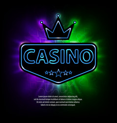 Bright vegas casino banner with neon frame and vector
