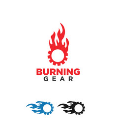 Burning gear logo design template vector