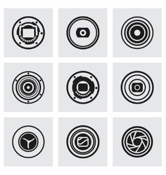 Camera shutter icon set vector image