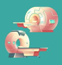 Cartoon mri scanner magnetic resonance vector