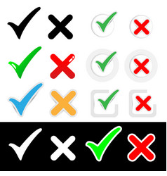 Check and wrong mark paper sticker icon vector