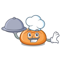 Chef with food hamburger bun mascot cartoon vector