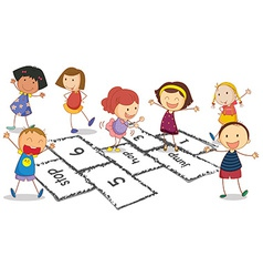 Children and hopscotch vector image vector image