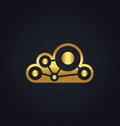 cloud technology connect gold logo vector image