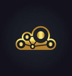 Cloud technology connect gold logo vector