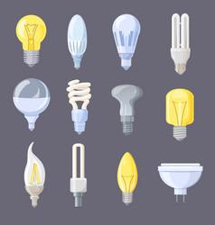 collection light bulbs on vector image