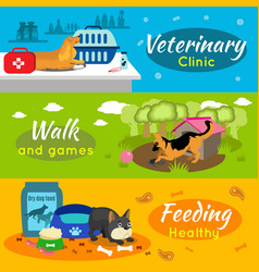 Colorful pets horizontal banners vector