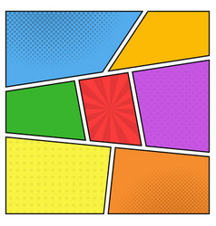 colorful template comic book page with rays vector image